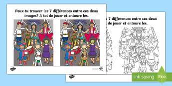 Jeu des 7 différences : Carnaval Feuille d'activités - mardi gras, carnaval, cycle 1, cycle 2, cycle3, jeu, carnival,French