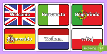 Mixed Languages Welcome Flashcards - Mixed Languages Welcome Display Posters - welcome posters, language, welcome language posters, welco
