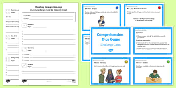 Reading Comprehension Dice Activity - reading, books, literacy