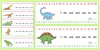 Combined Alphabet and Number Strips (Dinosaurs) - Dinosaur, Alphabet, Numbers, Writing aid, history, t-rex, stegosaurus, raptor, iguanodon, tyrannasaurus rex