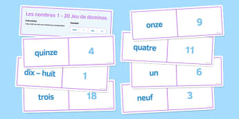 Les nombres de 1 à 20 Jeu de dominos - french, numbers, 1-20, dominoes, activity
