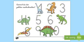 Dinosaurier Zahlen Nachschreiben 1 10 Arbeitsblatt - Dinosaurier Zahlen Nachschreiben 1-10 Arbeitsblatt, Dinosaurier Nummern, Dinosaurier Arbeitsblatt, D