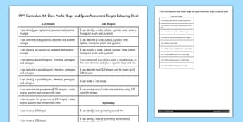 1999 Curriculum 4th Class Maths Shape and Space Assessment Targets Colouring - roi, gaeilge, maths, curriculum, 1999