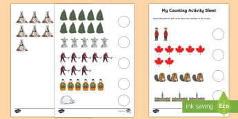 My Counting Activity Sheet - Canada\'s 150th Birthday, Counting, Kindergarten, Math, Canadian Symbols, worksheet