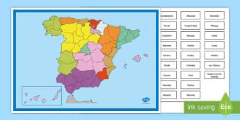 Póster: Colocar las comunidades autónomas Póster DIN A4 - Mapas, provinicias, mapas mudos, mapas en blanco, las ciudades de españa, comarcas, concejos, comun
