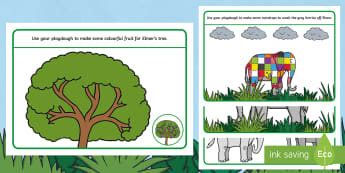Story  Playdough Mats - Elmer, David McKee, colour, story, elephants, pattern, eyfs, early years, patterns, elephant