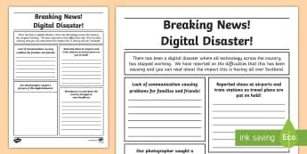 Digital Disaster Newspaper Writing Template - CfE Digital Learning Week (15th May 2017) Digital learning and teaching strategy, digital disaster,
