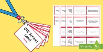 CfE Second Level Writing Lanyard-Sized Benchmarks - writing assessment, writing benchmarks, writing criteria,Scottish