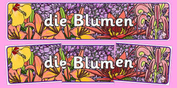 Flowers IPC Display Banner German - german, plants, flower, header, display, international, primary, curriculum