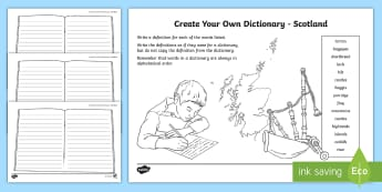Scotland Key Vocabulary Create Your Own Dictionary - define, definitions, alphabetical order, scottish