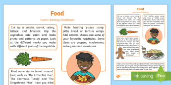 Food Home Learning Challenges Nursery FS1 - EYFS, Early Years, home school links, homework, home learning, parents, food, baking, cooking, healt
