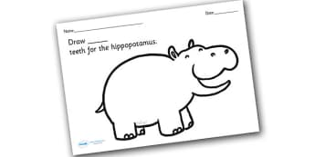 Hippopotamus Teeth Counting and Colouring Sheet - safari, safari animals, safari colouring sheets, safari counting sheets, safari numeracy, counting