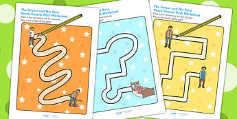 The Farmer and His Sons Pencil Control Path Worksheets - stories