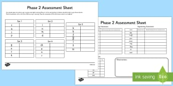 Phase 2 Phonics Letters and Sounds Assessment Sheets - phase 2, letters and sounds, DFE, phonics assessment, letters and sounds assessment, phase 2 anaylsis sheet