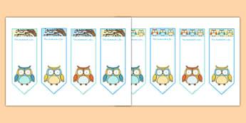Cute Owl Themed Bookmarks - cute owl, themed, bookmarks, bookmark, book, mark