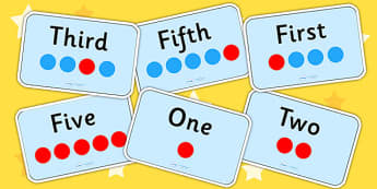 Ordinal Number Flashcards - number order, ordering, sorting, sort