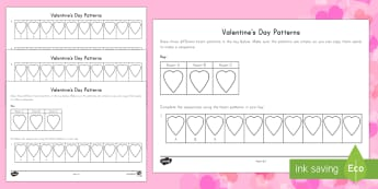 Valentine's Day Patterns Activity - Valentine's Day, patterns, sequence, hearts, colouring, repeating