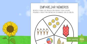 Ficha de actividad: Emparejar números - Verano - emparejar, pinzas, números, verano, estaciones, estación, recortar, motricidad, parejas, ,Spanish