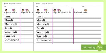 Feuille d'activité : Écriture - Les jours de la semaine - Jours, days, semaine, week, cycle 2, écrire, écriture, writing, orthographe, spelling,French