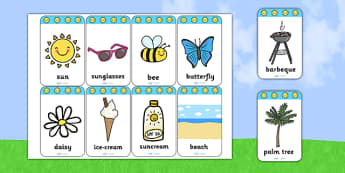 Summer Flashcards - seasons, weather, flash cards, word cards