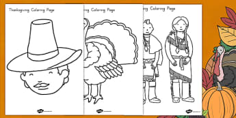 Thanksgiving Coloring Pages USA - color, worksheet, activity