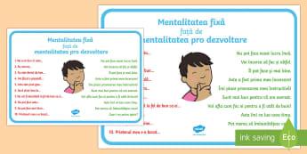 Mentalitatea fixă față de mentalitatea pro dezvoltare Planșă - dezvoltare personală, planșe motivaționale, motivație, decorul clasei, ,Romanian