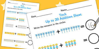 Up to 20 Addition Sheet to Support Teaching on Titch - stories, book, adding, add, maths
