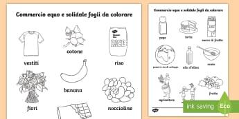 Commercio equo Fogli da colorare - commercio, equo, e solidale, fogli, da, colorare, colori, italiano, italian, materiale, scolastico