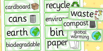 Eco and Recycling Display Posters - Eco School, Eco, Recycle, environment, recyling, eco class, word card, cards, flaschards, turn off, lights, computer, paper, electricity, saving