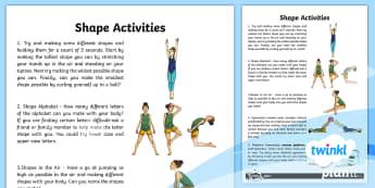 PlanIt - PE Year 3 - Gymnastics: Shape Home Learning Tasks - Gymnastics, shape, Y3, KS2, stretched, tucked, wide, rhythmic gymnastics, strength