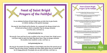 Feast of Saint Brigid Prayers of the Faithful Print-Out
