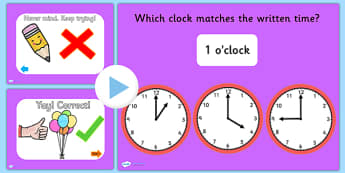 Clock Matching PowerPoint Version 2 - clock, clock matching, powerpoint, matching powerpoint, games, clock matching game, time, telling time, numeracy