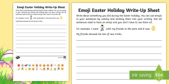 KS1 Emoji Easter Holiday Write-Up Activity Sheet -  ks1, KS1, ks1 writing, ks1 holiday recount, KS1 holiday recount, Easter holidays, Easter holiday re