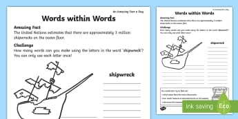 Words within Words Shipwreck Activity Sheet - Amazing Fact Of The Day, amazing fact a day april, activity sheets, powerpoint, starter, morning act