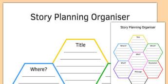 KS3 Story Planning Honeycomb Graphic Organiser - ks3, honeycomb, story planning, graphic organiser