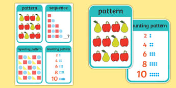 CfE Early Level Numeracy and Mathematics Patterns and Relationships Keyword Flashcards-Scottish