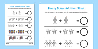 Addition Sheet to Support Teaching on Funny Bones - funny bones, addition sheets, addition, funny bones addition sheets, funny bones worksheets, story book worksheets