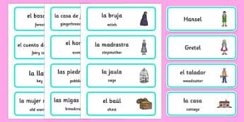 Tarjetas de vocabulario bilingües en inglés: Hansel y Gretel - tarjetas, vocabulario, Hansel y Gretel, cuento, inglés