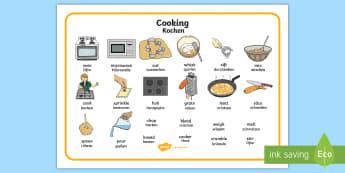 Cooking Word Mat English/German - Cooking, word mat, EAL, German, cooking equipment, translation
