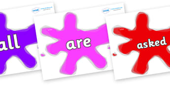 Tricky Words on Splats - Tricky words, DfES Letters and Sounds, Letters and sounds, display, words