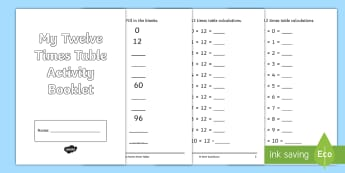 Twelve Times Table Activity Booklet - twelve times table, times table, times, tables, activity, booklet, activity booklet, twelve, number, multiplication, maths, mathematics, cfe