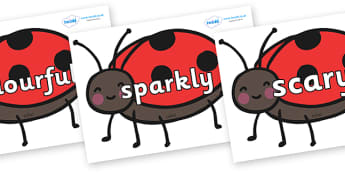 Wow Words on Ladybirds - Wow words, adjectives, VCOP, describing, Wow, display, poster, wow display, tasty, scary, ugly, beautiful, colourful sharp, bouncy