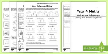 Year 4 Maths: Addition and Subtraction Working From Home Activity Booklet - KS2 Maths Working from home activity booklets, addition, subtraction, column addition, column subtra