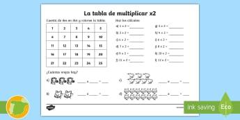 Ficha de actividad: La tabla de multiplicar - x2 - x2, tabla de multiplicar, tablas, multiplicar, multiplicación, múltiplos, dos en dos, dos por dos,