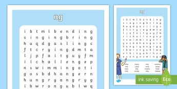 'ng' Sound Differentiated Word Search  - reading, spelling, phonics, jolly phonics,jolly grammar, 1st class, second class, first class, 2nd c