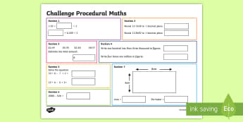 Procedural Year 6 MAT Challenge Math Activity Mats-Welsh - Procedural, national tests, money, time, measures, tests, test practice wales, Wales, Maths Acitvity