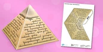 3D Ancient Egyptian Pyramid - 3d, ancient egypt, pyramid, ancient, egypt, model, craft, paper