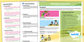 PlanIt Geography Year 5 Magnificent Mountains Planning Overview CfE - KS2, key stage 2, geography, topic, planning, resources, unit, natural, physical, scottish, curriculum for excellence