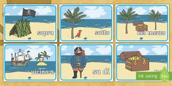 Le Proposizioni di Luogo con i Pirati Poster - preposizioni, di, luogo, grammatica, gramamticale, analisi, logica, italiano, italian