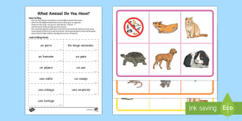 What Animal Do You Have? Lotto Game Spanish  - Spanish, Vocabulary, KS2, animals, pets, do, you, have, lotto, game ,Spanish, MFL